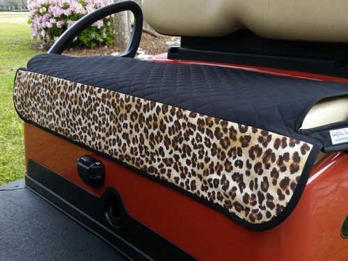 Quilted Black Leopard Cart Seat Cover