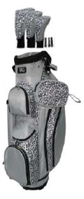 RJ Sports LB-960 Grey Leopard Ladies Golf Bag + Club Cover Set