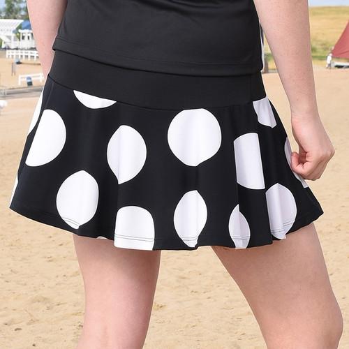 FestaSports Black & White Polka Dot Flounce Tennis Skort