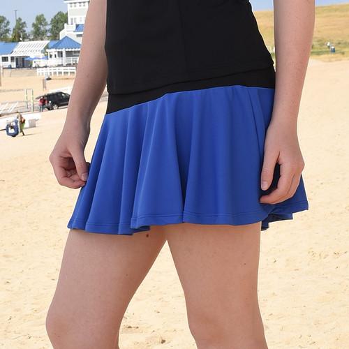 FestaSports Cobalt Blue & Black Flounce Tennis Skort