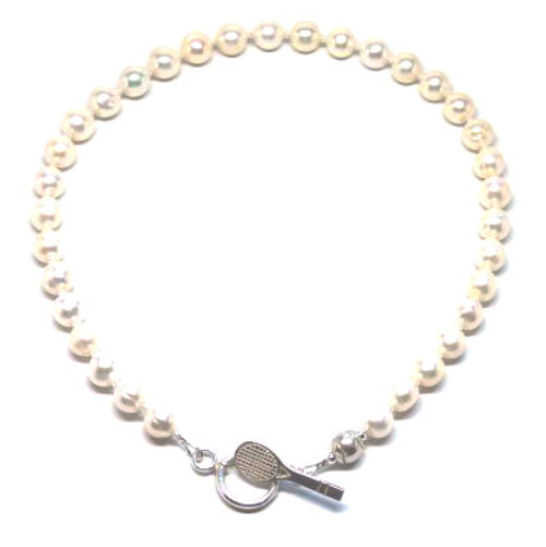 Sporty Chic Pearl Toggle Tennis Necklace