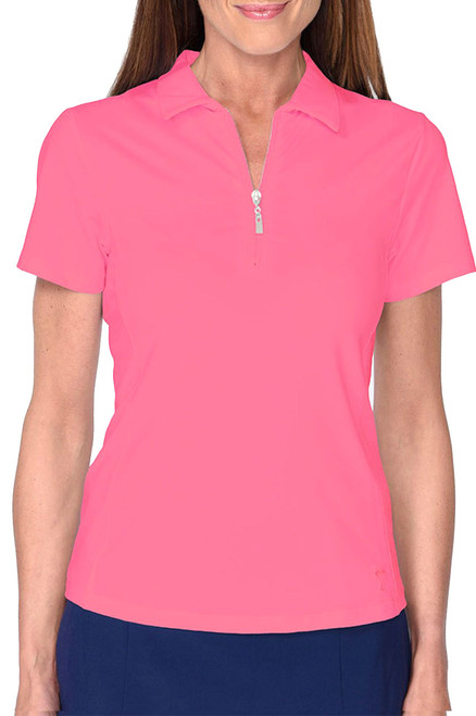 Golftini Hot Pink Short Sleeve Zip Tech Polo (NEW!)