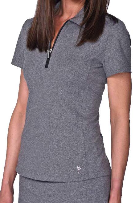 Golftini Heather Grey Short Sleeve Zip Tech Polo (NEW!)