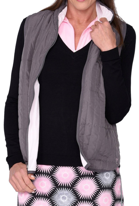 Golftini Grey / Light Pink Reversible Wind Vest