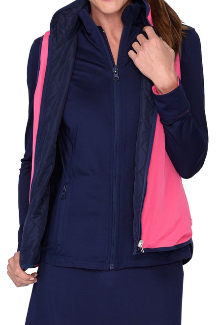 Golftini Navy / Hot Pink Reversible Wind Vest