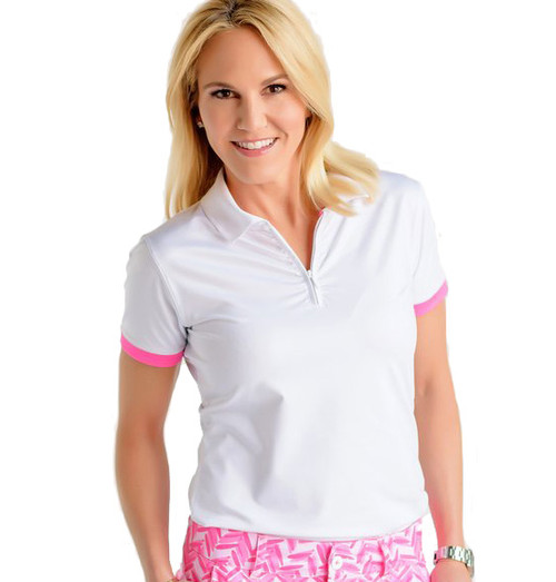 Birdies & Bows On Par White Ladies Golf Polo
