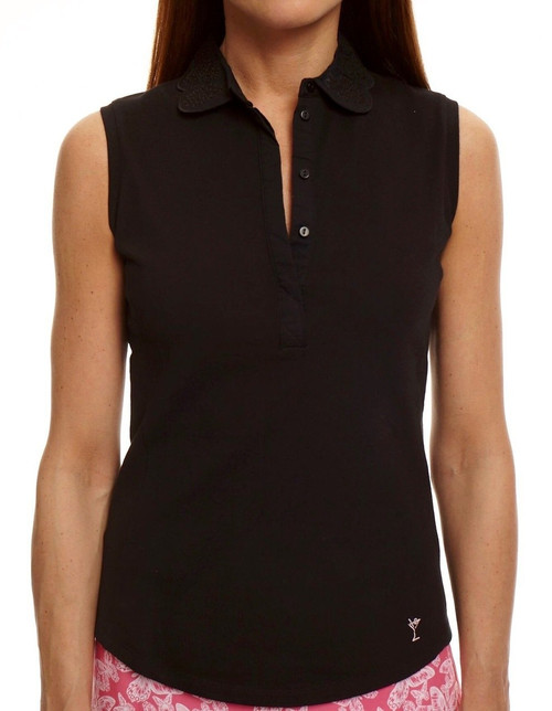 Golftini Black Eyelet Sleeveless Polo