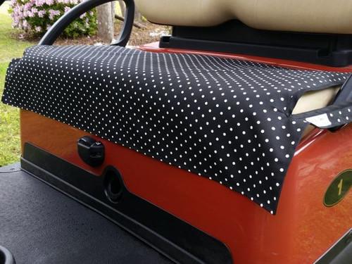 Black & White Polka Dot Fade Resistant Cart Seat Cover