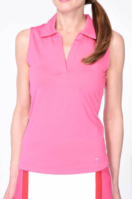 Golftini Hot Pink Sleeveless Polo with Mesh Trim