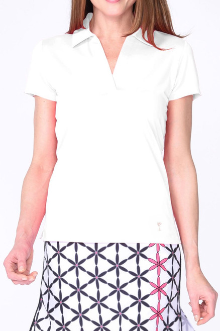 Golftini White Short Sleeve Polo with Mesh Trim