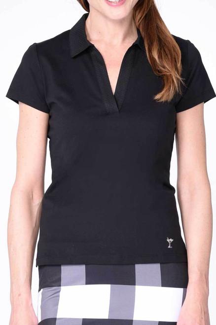 Golftini Black Short Sleeve Polo with Mesh Trim