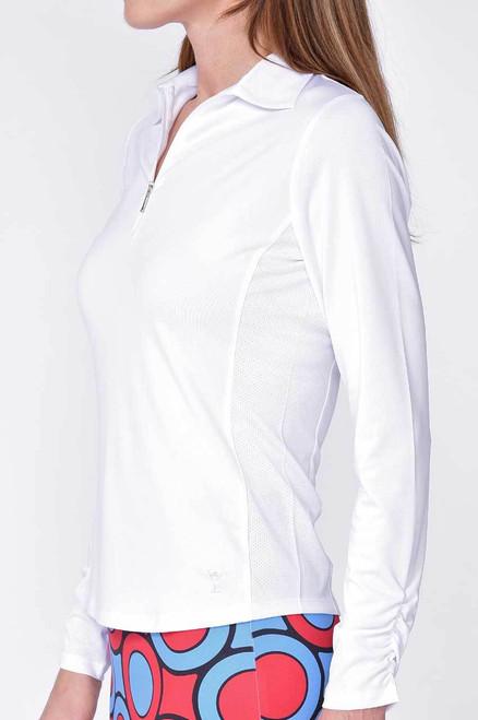 Golftini White Long Sleeve Zip Tech Polo