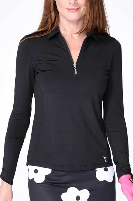Golftini Black Long Sleeve Zip Tech Polo