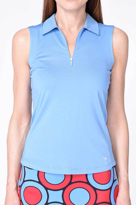 Golftini Blue Sleeveless Zip Tech Polo