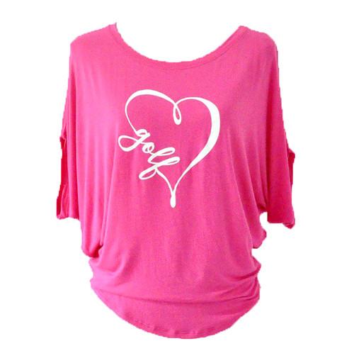 Bump & Run Pink I Heart Golf Circle Top
