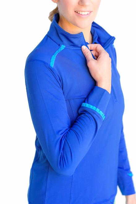 Birdies & Bows Navy & Turquoise Quarter Zip Long Sleeve Golf Shirt