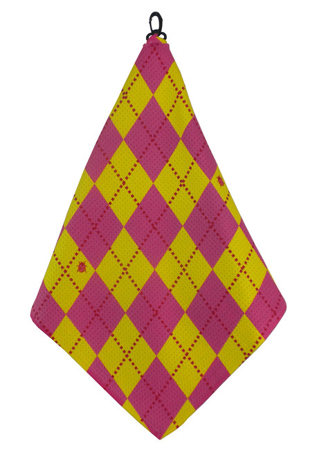 Beejo Yellow & Hot Pink Argyle Golf Towel
