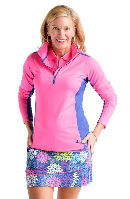 Birdies & Bows Pink Quarter Zip Long Sleeve Golf Shirt