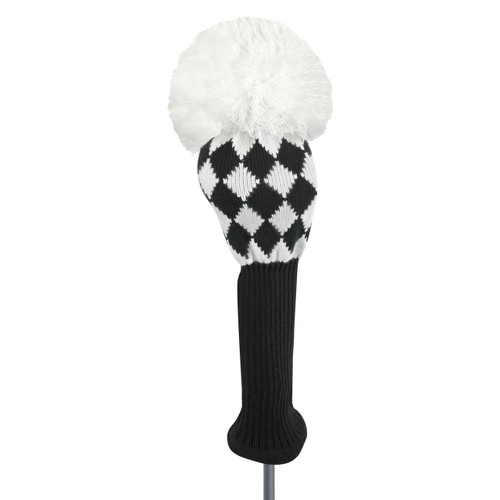 Just4Golf Black Argyle Driver Cover