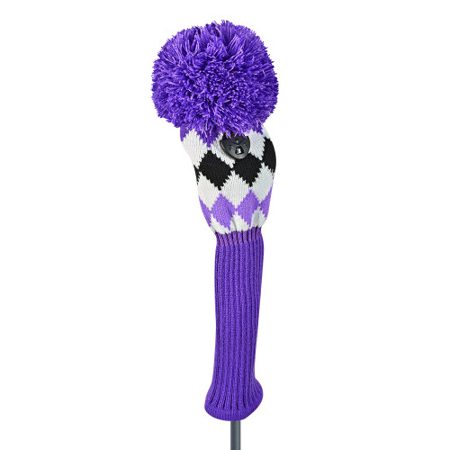 Just4Golf Purple Argyle Fairway Cover