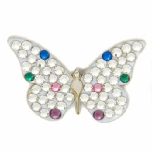 Bonjoc White Butterfly Swarovski Crystal Ball Marker