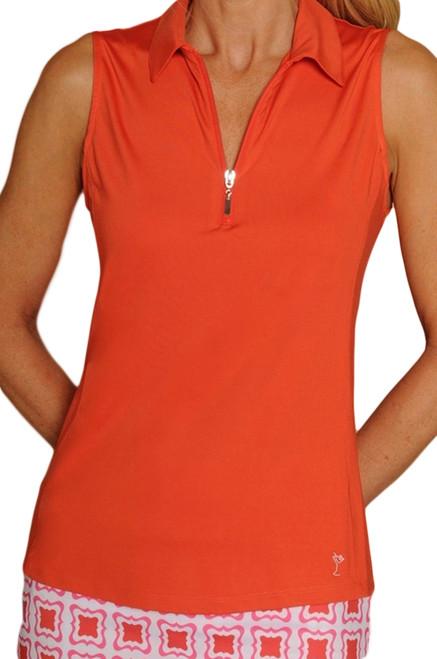 Golftini Orange Ladies Sleeveless Golf Polo Shirt
