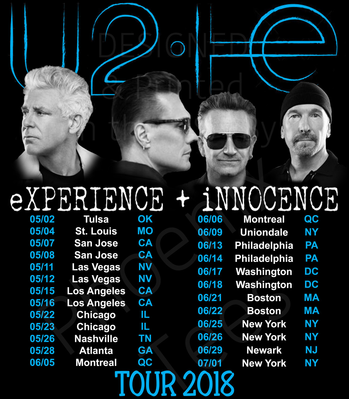 U2 Experience and Innocence 2018 Concert Tour T shirt - Phoenix Tees