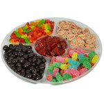 Five Section Lucite filled with Assorted Candy and Chocolate