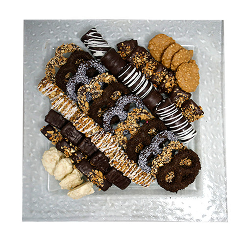 glass square tray filled with chocolate truffles