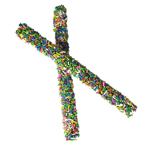 Chocolate Covered Pretzel Rod with Colorful Sprinkles