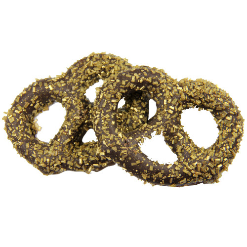 Chocolate Covered Pretzel with Gold Diamond Crystal Sprinkles