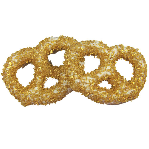White Chocolate Covered Pretzel with Gold Diamond Crystal Sprinkles