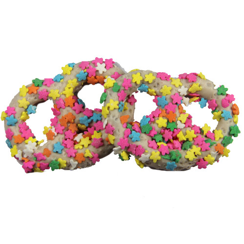 White Chocolate Covered Pretzel with Flower Confetti Sprinkles