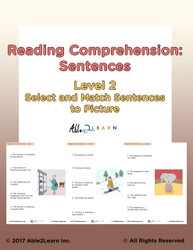 Reading Comprehension Level 2: Reading Sentences Matching Picture: Pages 22