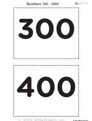 Counting by 10's from 100 - 1000 Flash Cards