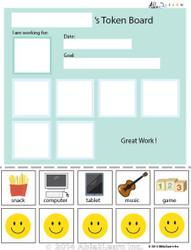 Token Board - Simple Happy Face - 5 Tokens
