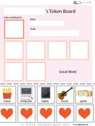 Token Board - Simple Pink Hearts - 5 Tokens