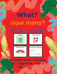 Veggie Themed Adaptive Books - Counting 1 - 5 (Lv. 3) - 19 Pages