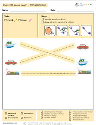 Transportation Identical Picture  Matching Program with ABLLS-R™ Words (Lv. 1)