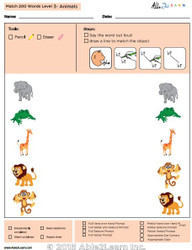 Animal Identical Picture  Matching Program with ABLLS-R™ Words (Lv. 3)