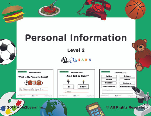 Personal Information Adapted Book- Level 2- Trace Printing 45 Pages