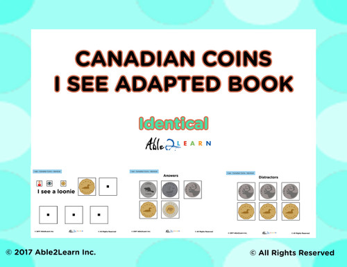 Canadian Coins Identical Matching: Math Adapted Book: PAGES 23