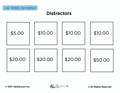 American Dollar Bills Non Identical Matching: Free Math