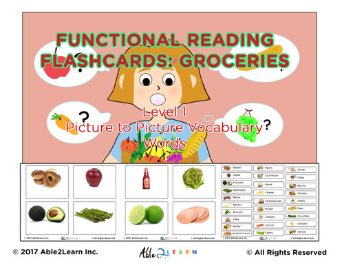 Life Skills Grocery Food Flashcards: 100 Flashcards: Pages 32 ...  Grocery Words