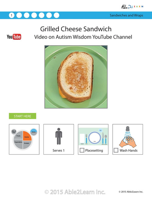 Grilled Cheese Sandwich Visual  Recipe And Comprehension Sheets: Pages 20