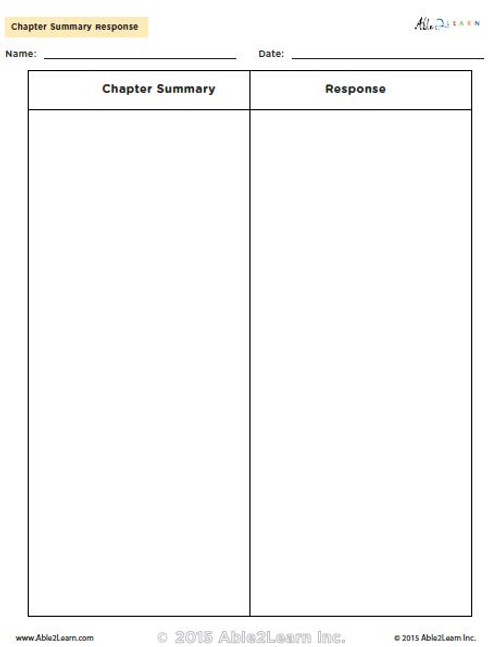 Chapter Summary Response Chart