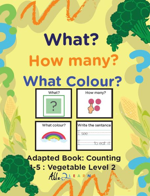 Veggie Themed Adaptive Books - Counting 1 - 5 (Lv. 2) -19 Pages