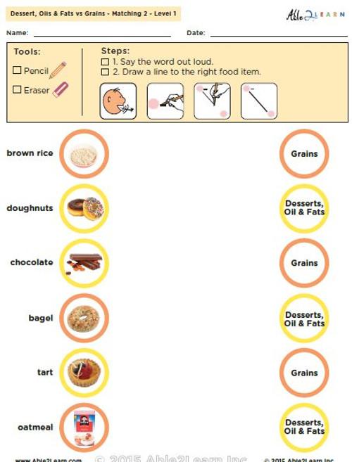 Dessert, Oils & Fats vs. Grains: The Food Group - Level 1: 8 Pages