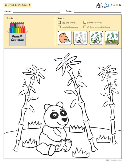 Colouring Sheets:  Scenes: Level 1b  - Pages 11