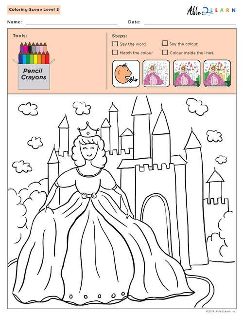 Colouring Sheets:  Scenes: Not Guided:  Level 3  - Pages 4
